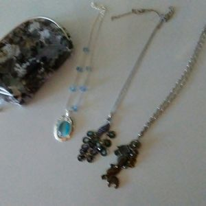Other - 3 necklaces with mini makeup bag